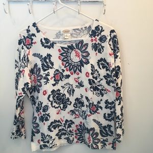 Talbot Long sleeve top (M) white w/floral print